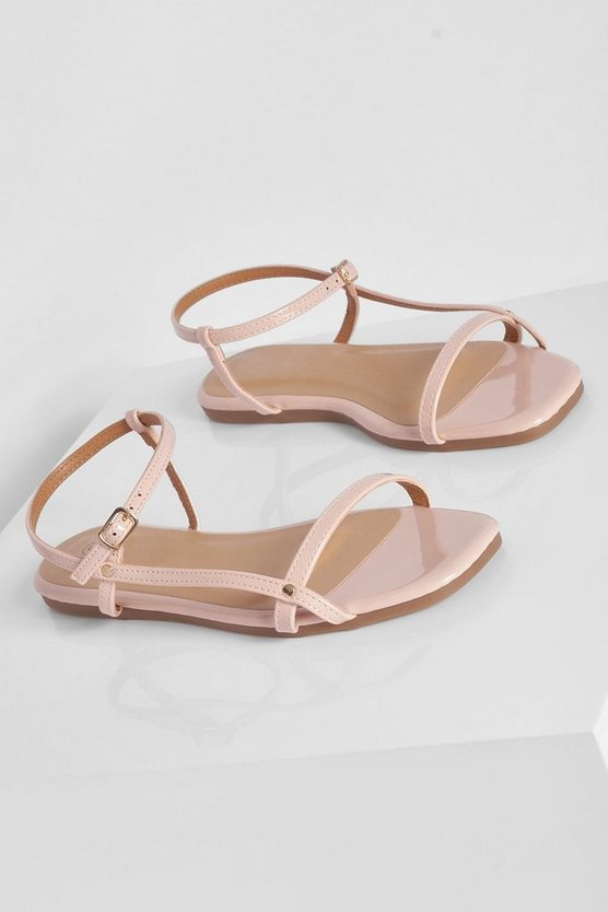 Womens Wide Fit Strappy Patent Sandal - Nude - 40
