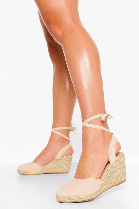 Womens Wide Fit Wrap Up Espadrille Wedges - Nude - 38