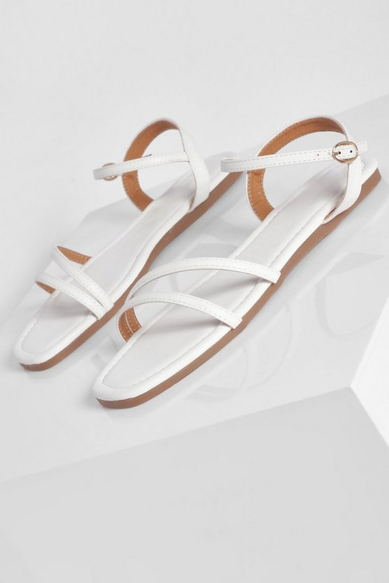 Womens Wide Fit Basic Strappy Sandal - White - 41