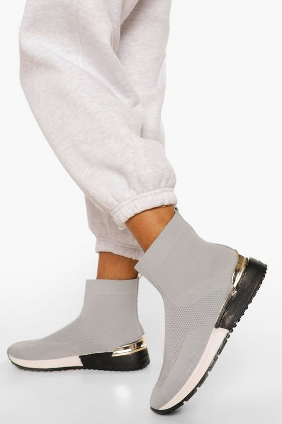 Womens Metal Trim Knitted Sock Trainers - Grey - 41