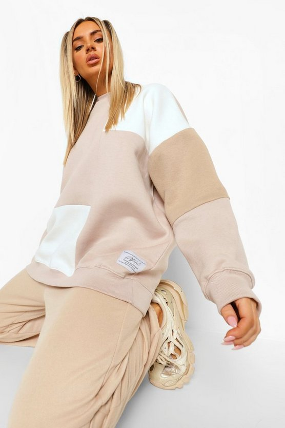 Womens Official Collection Pullover Im Colorblock-Design - Taupe - M
