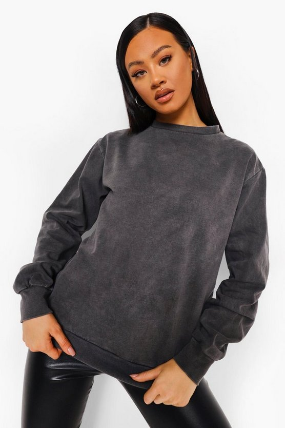 Womens Anthrazitfarbenes Sweatshirt In Acid-Wash-Optik - S