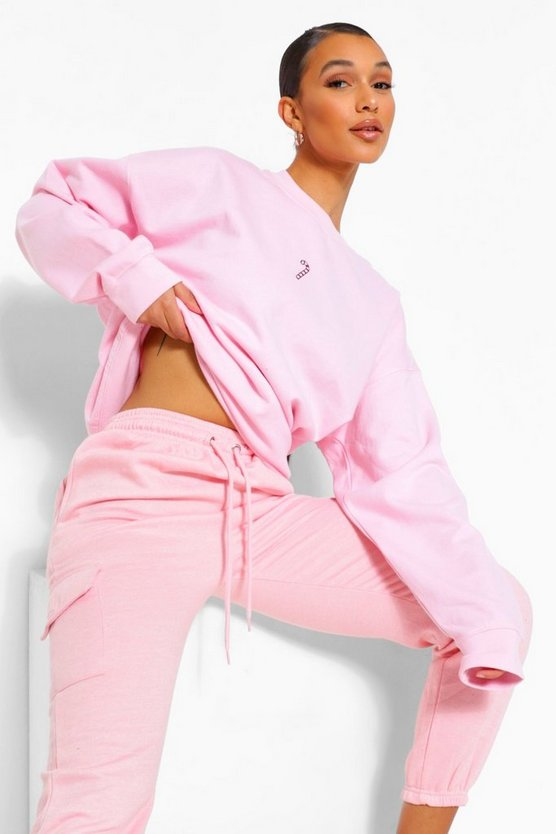 Womens Oversized Candy Cane Embroidered Sweatshirt - Pale Pink - M