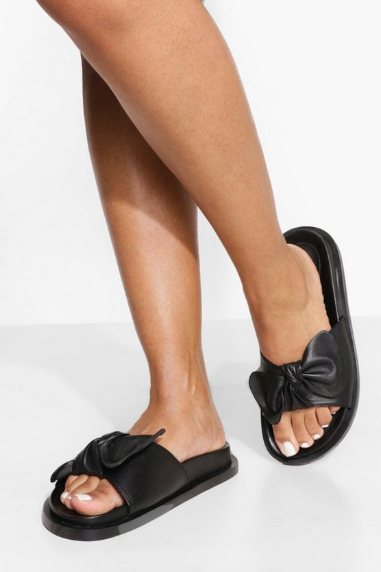 Womens Wide Fit Leather Bow Detail Footbed Slider - Black - 41