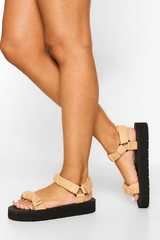 Womens Ruched Trekking Sporty Sandal - Nude - 41