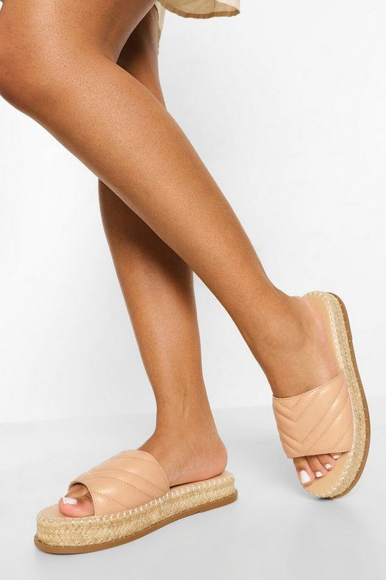 Womens Quilted Espadrille Mule - Nude - 41