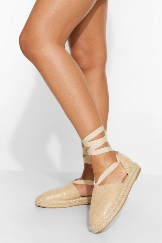 Womens Quilted Wrap Up Espadrille - Nude - 41