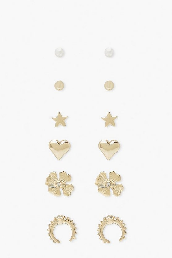 Womens Lucky Day 6Er-Pack Ohrstecker - Gold - One Size