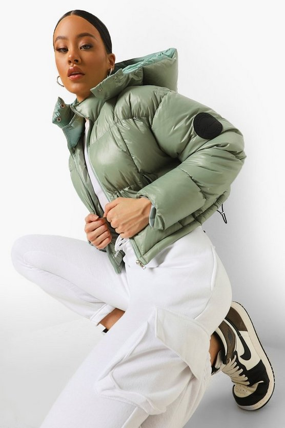 Womens Tonal Contrast Quilted Puffer - Sage - 42