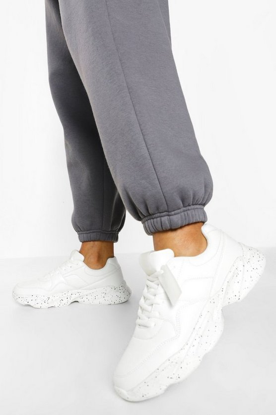 Womens Official Speckle Sole Chunky Trainers - White - 41