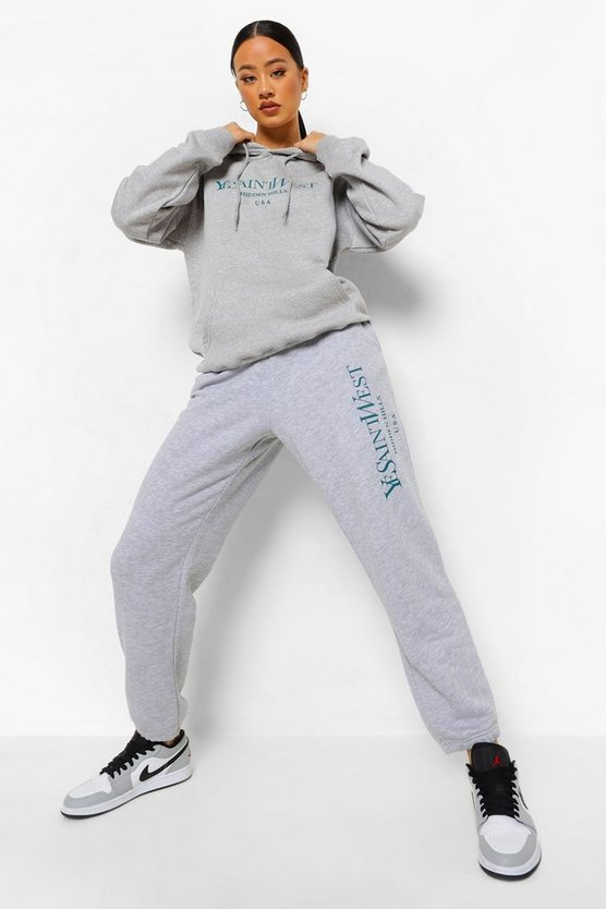 "Womens Jogginghosen Mit ""Ye Saint West""-Slogan - Grau Meliert - S"