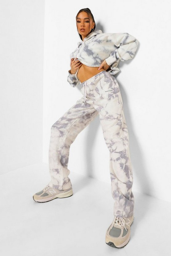 Womens Reflektierende Straight Leg Jogginghose Für Damen In Batik-Optik - Grau - M