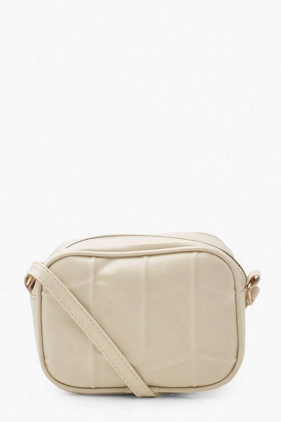 Womens Gesteppte Cross-Body-Tasche Aus Pu - Creme - One Size