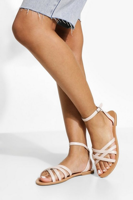 Womens Wide Fit Multi Strap Basic Sandal - Off White - 40
