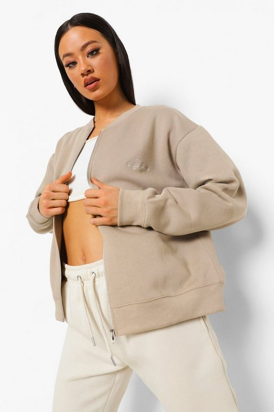 Womens Official Embroidered Zip Detail Sweatshirt - Taupe - M