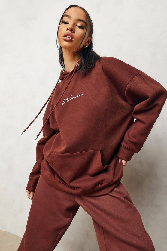 Womens Woman Oversized Embroidered Hoodie - Chocolate - M