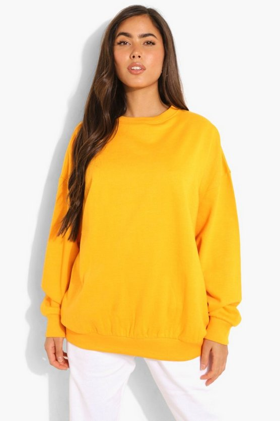 Womens Basic Oversized Sweatshirt - Mandarine - M