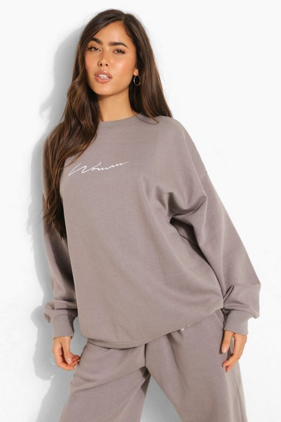 Womens Oversized Embroidered Woman Script Sweatshirt - Charcoal - L