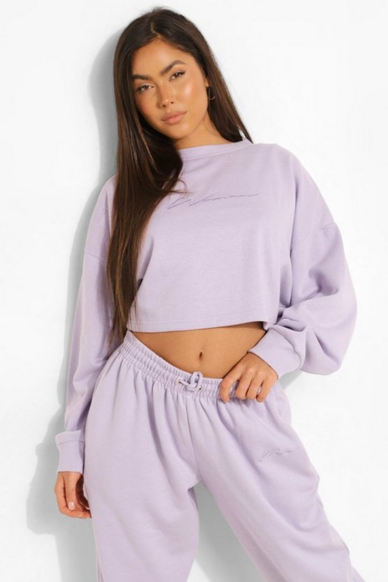 Womens Cropped Woman Embroidered Sweatshirt - Lilac - M