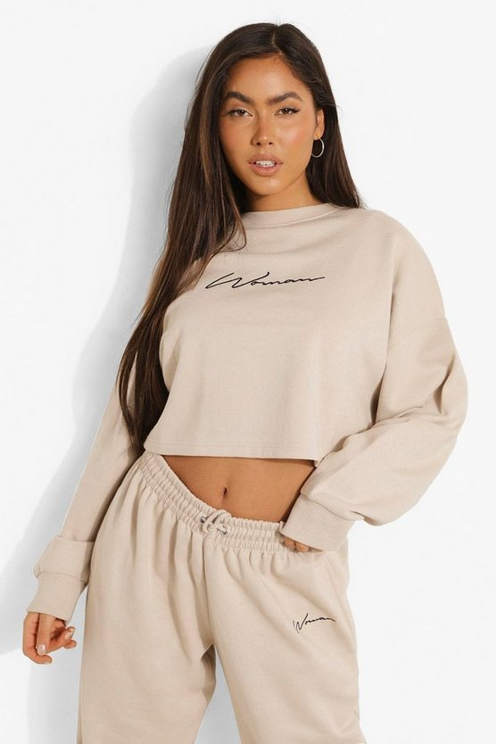 Womens Cropped Woman Embroidered Sweatshirt - Stone - M