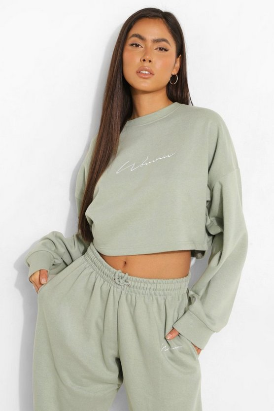 Womens Cropped Woman Embroidered Sweatshirt - Sage - S