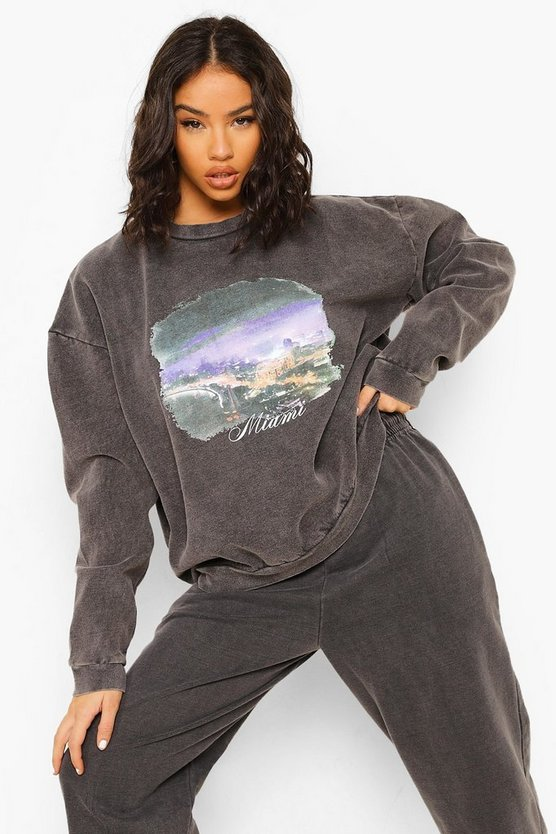 Womens Oversized Overdyed Miami Print Sweatshirt - Charcoal - M
