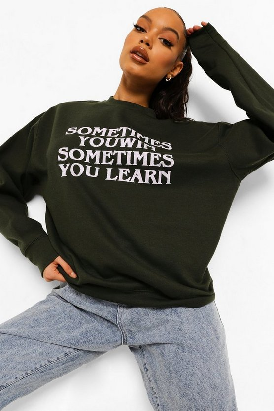 "Womens Sweatshirt In Übergröße Mit ""Sometimes You Win""-Slogan - Flaschengrün - M"