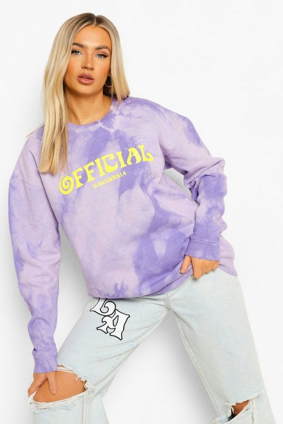 Womens Official Tie Dye Oversized Sweatshirt - Purple - M