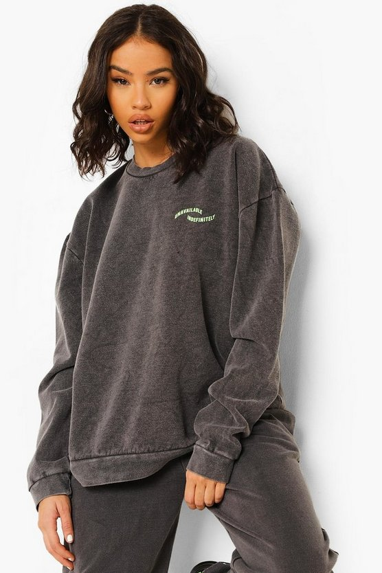 Womens Overdyed Oversized Slogan Sweatshirt - Charcoal - M