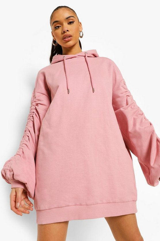 Womens Ruched Sleeve Oversized Hoodie Dress - Pink - 40