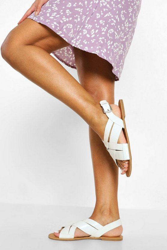Womens Chunky Strap Crossover Sandal - White - 41