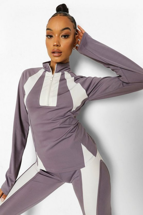 Womens Ofcl Contrast Stitch Body Shaping Funnel Neck - Grey - 42
