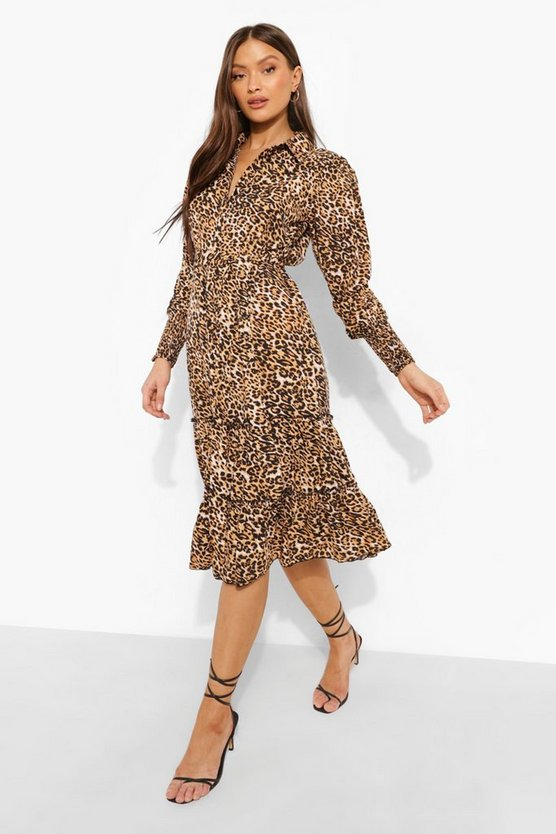 Womens Leopard Collared Belted Tiered Midi Dress - Tan - 44