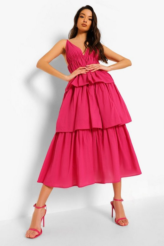 Womens Plunge Strappy Tiered Midaxi Dress - Hot Pink - 36
