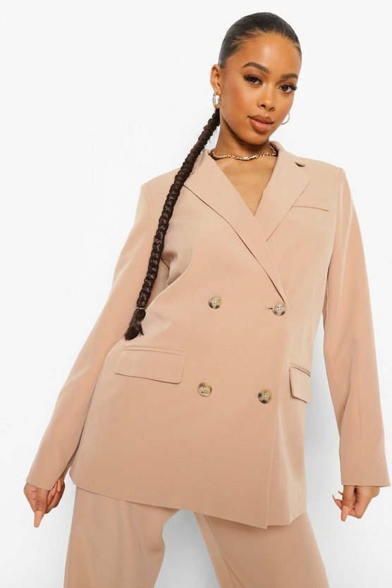 Womens Double Breasted Oversized Blazer - Taupe - 36