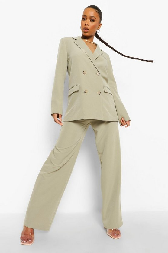 Womens Belted Relaxed Fit Trousers - Sage - 42