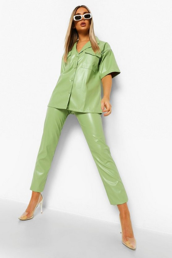 Womens Leather Look Straight Leg Trousers - Sage - 40