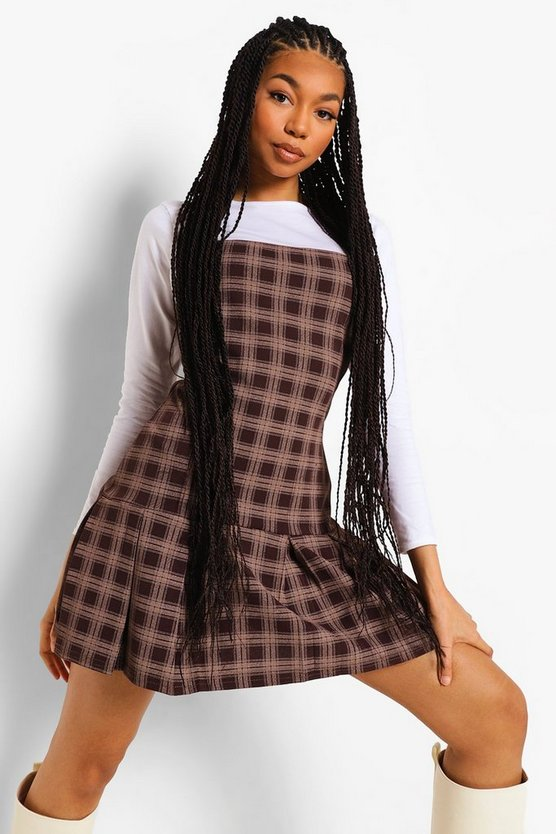 Womens Check Slip Dress With Long Sleeve Cotton Tee - Brown - 44