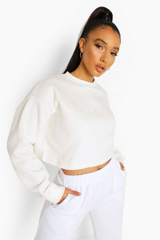 "Womens Crop-Sweatshirt Mit ""Woman""-Stickerei - Naturfarben - Xs"