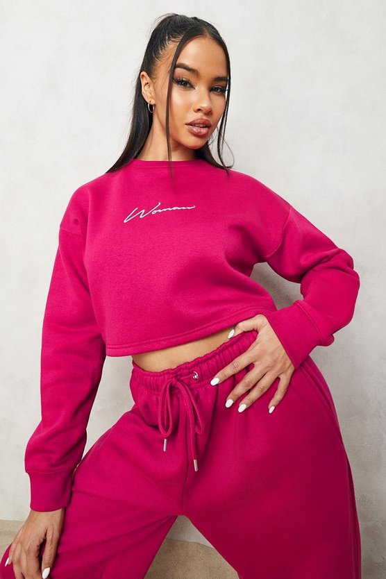 Womens Cropped Woman Embroidered Sweatshirt - Pink - M