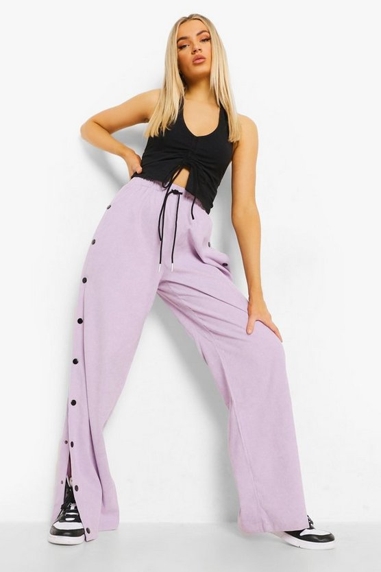 Womens Cord Popper Detail Luxe Jogger - Lilac - 42