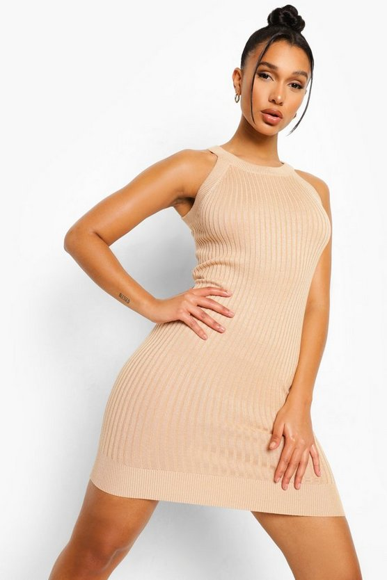 Womens Racer Neck Rib Knit Dress - Biscuit - M