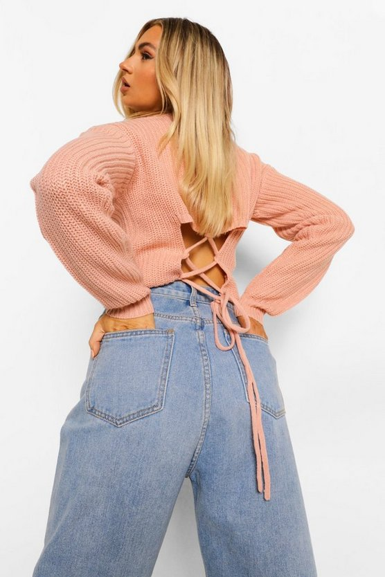 Womens Lace Up Back Jumper - Pink - M