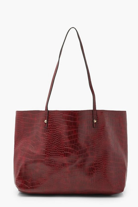 Womens Weiche Tote Bag In Kroko-Optik - Burgunderrot - One Size