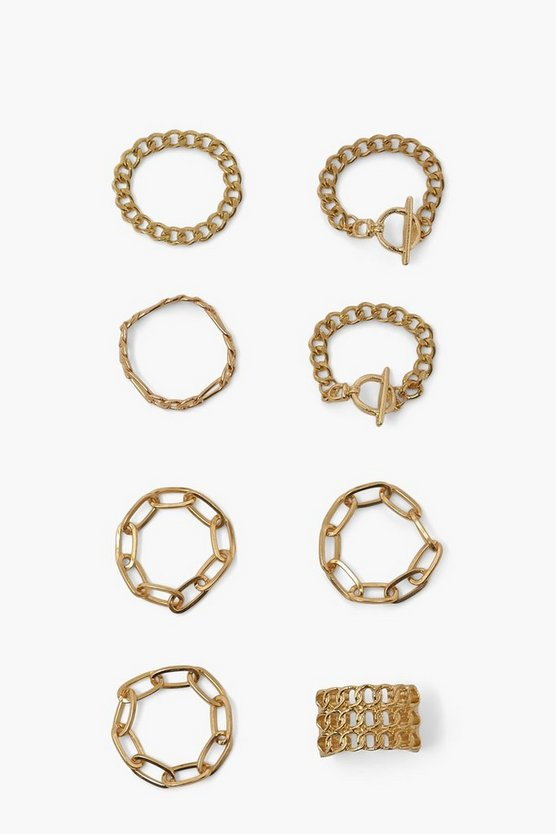 Womens Chain Ring Pack - Gold - One Size