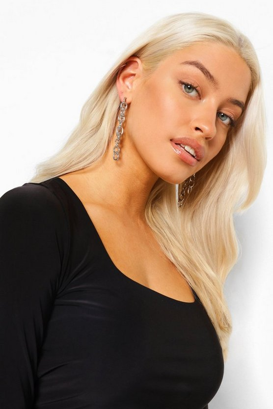 Womens Ohrringe Mit Doppelter Kette - Silber - One Size