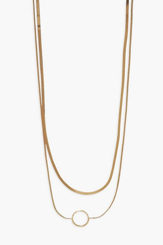 Womens Openwork Disc Double Layered Necklace - Gold - One Size