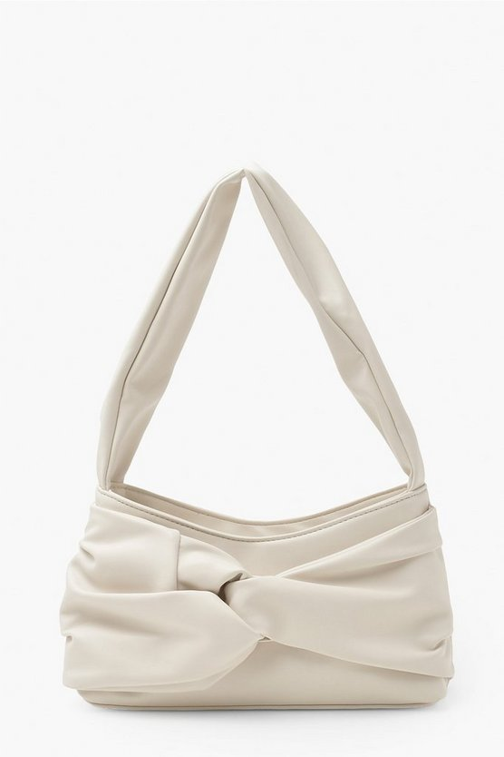 Womens Pu Front Knot Underarm Bag - Ivory - One Size