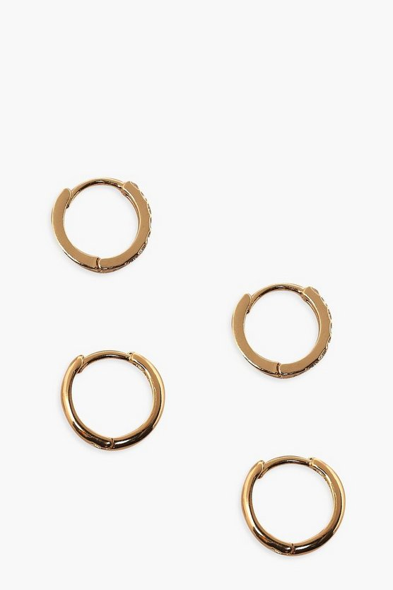 Womens Plain And Diamante Hoop Pack - Gold - One Size