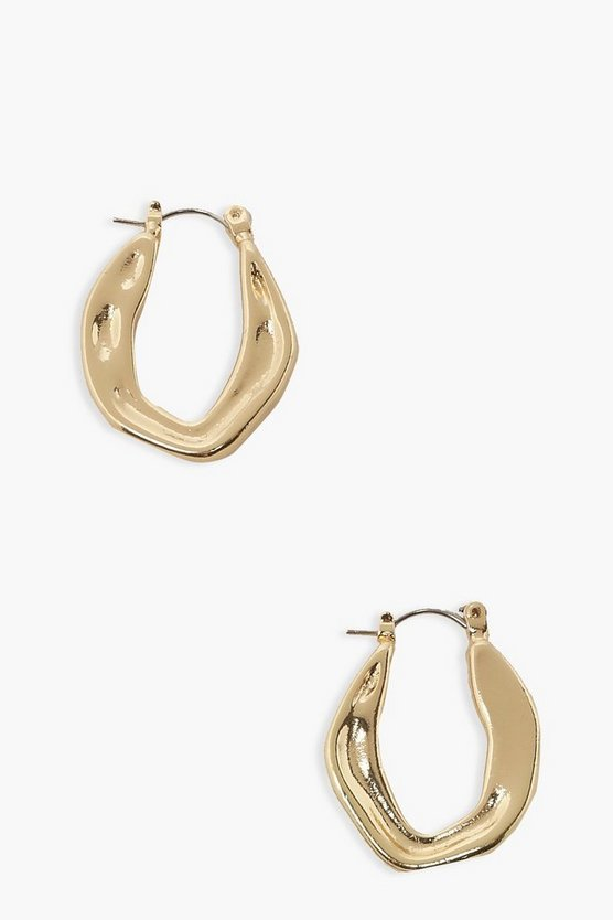 Womens Uneven Full Clip Hoops - Gold - One Size